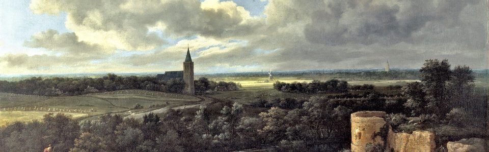 Jacob van Ruisdael, Landschap met kasteelruïne en kerk, 1665-1670 olieverf op doek, 109 x 146 cm, collectie National Gallery London, NG990