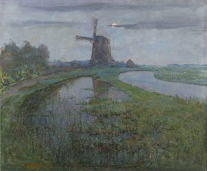 Piet Mondriaan, Oostzijde molen aan het Gein bij maanlicht, ca. 1903